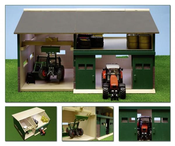 Werkstatt mit Schuppen aus Holz für Siku und andere Modelle von Kids Globe 1:32