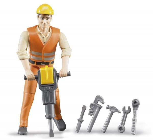 Bauarbeiter mit Zubehör Modell von Bruder bworld