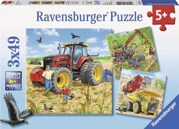 Puzzle Große Maschinen 3 x 49 Teile