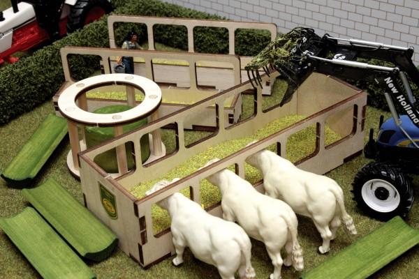Futterraufen und -tröge Set (8 Teile) Modell von Brushwood Toys 1:32